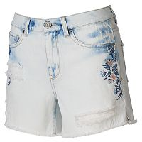 Juniors' Mudd® High Waisted Ripped Midi Shorts