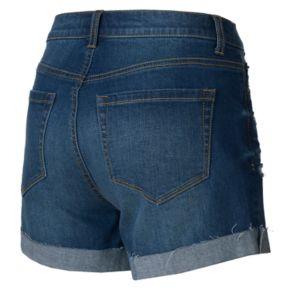 Juniors' Mudd® High Waisted Cuffed Hem Ripped Midi Shorts