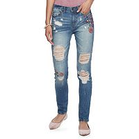 Juniors' Mudd® Floral Ripped Ankle Jeans