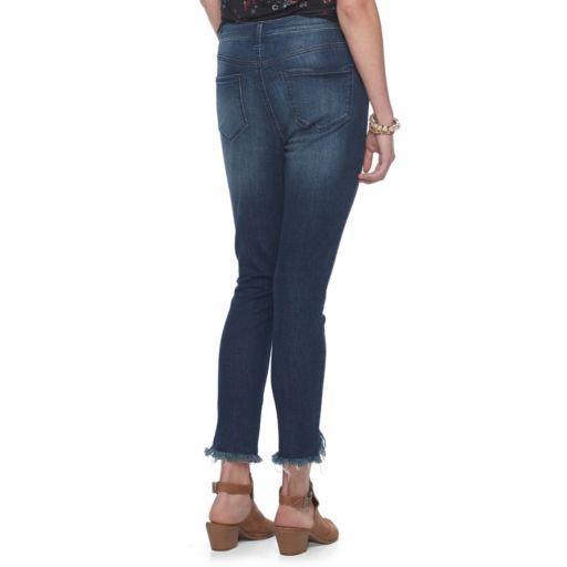 Juniors' Mudd® Distressed Fray Hem Ankle Skinny Jeans