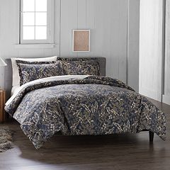 Cuddl Duds Navy Floral Flannel Duvet Cover Set