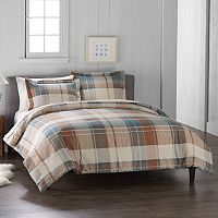 Cuddl Duds Blue Plaid Flannel Duvet Cover Set
