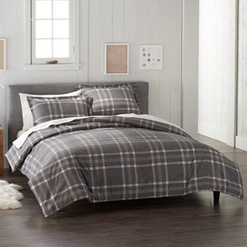 Cuddl Duds Gray Plaid Flannel Duvet Cover Set