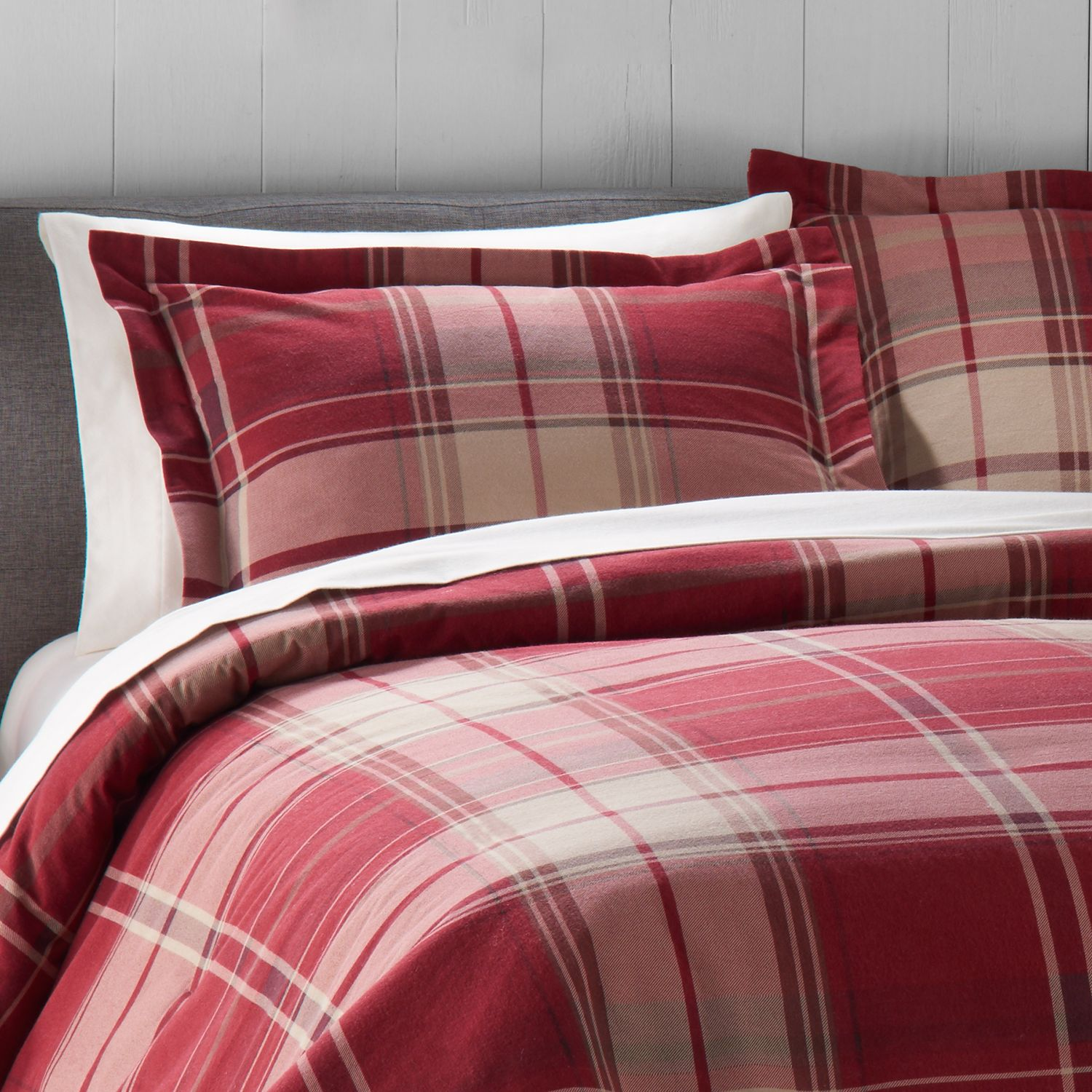 Cuddl Duds Red Plaid Flannel Duvet Cover Set