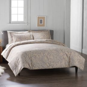 Cuddl Duds Yellow Floral Flannel Duvet Cover Set
