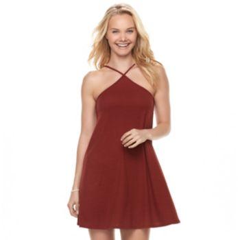 Juniors' Love, Fire Ribbed Halter Dress