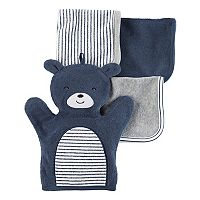 Baby Carter's 4 pc Bear Hand Mitt & Patterned Wash Cloth Set