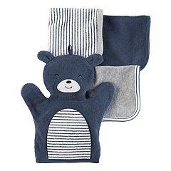 Baby Carter's 4-pc. Bear Hand Mitt & Patterned Wash Cloth Set