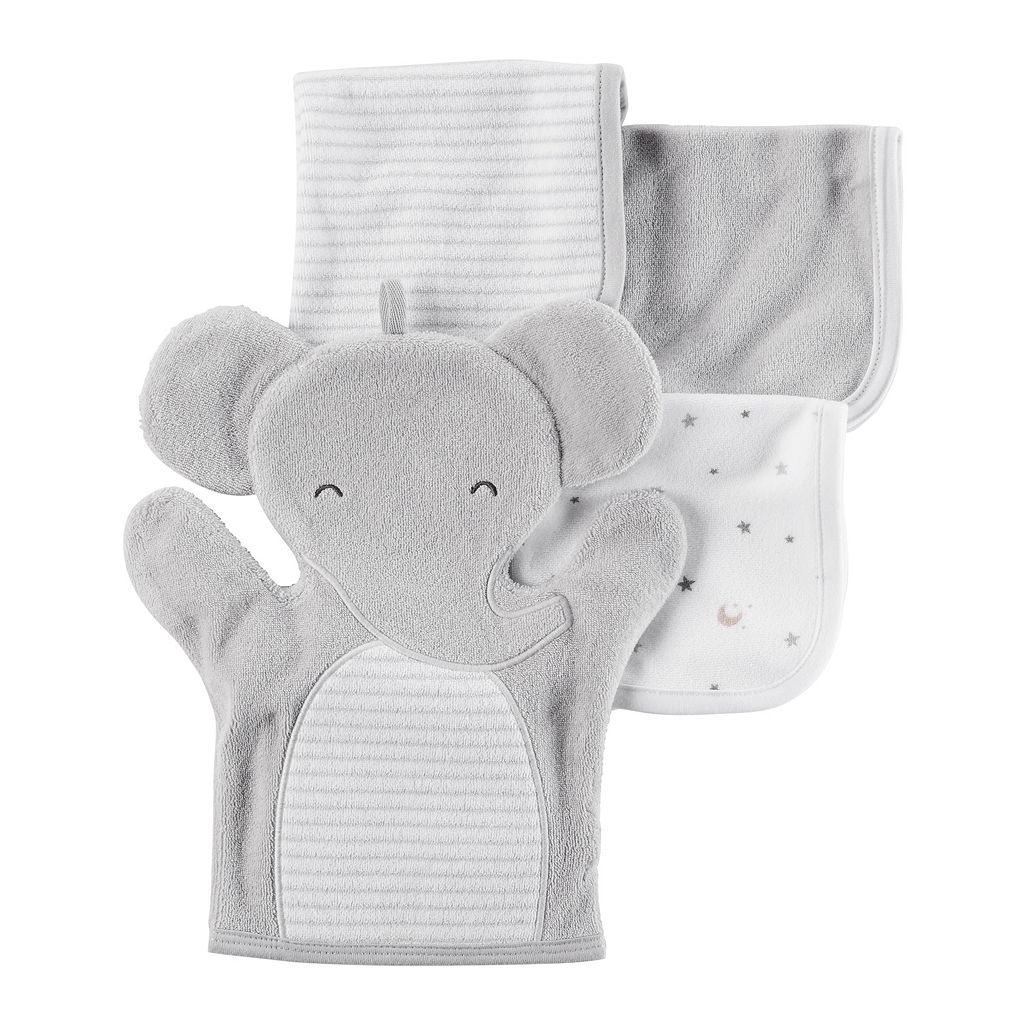 Baby Carter's 4-pc. Elephant Hand Mitt & Patterned Wash Cloth Set