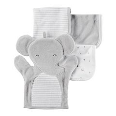 Baby Carter's 4 pc Elephant Hand Mitt & Patterned Wash Cloth Set