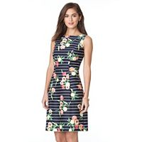 Women's Chaps Striped & Floral Fit & Flare Sateen Dress