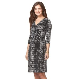 Women's Chaps Geometric Faux-Wrap Dress