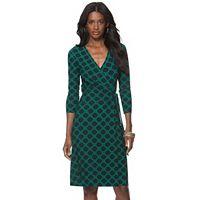 Women's Chaps Geometric Faux-Wrap Dress