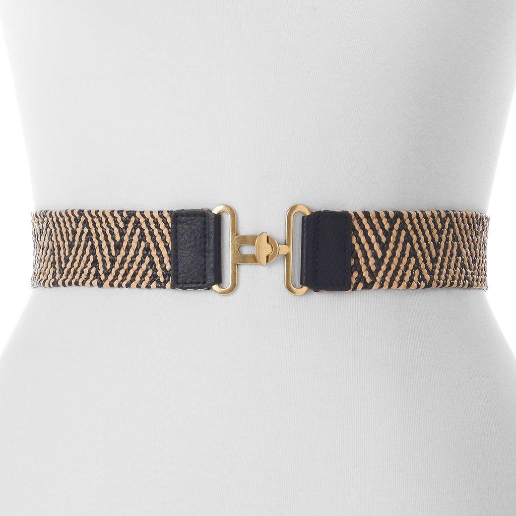 Women's Apt. 9® Stretchy Straw Zizag Interlock Belt