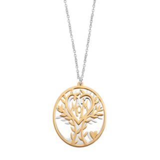 """Two Tone Sterling Silver """"Mom"""" & Family Tree Pendant Necklace"""