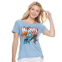 Juniors' Marvel Superheroes Graphic Tee