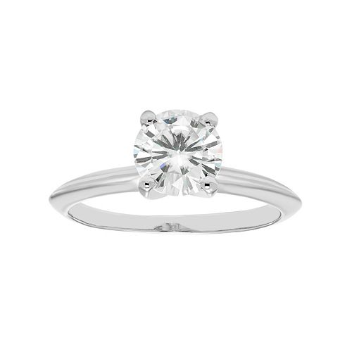 14k White Gold 1 Carat T.W. Lab-Created Moissanite Engagement Ring