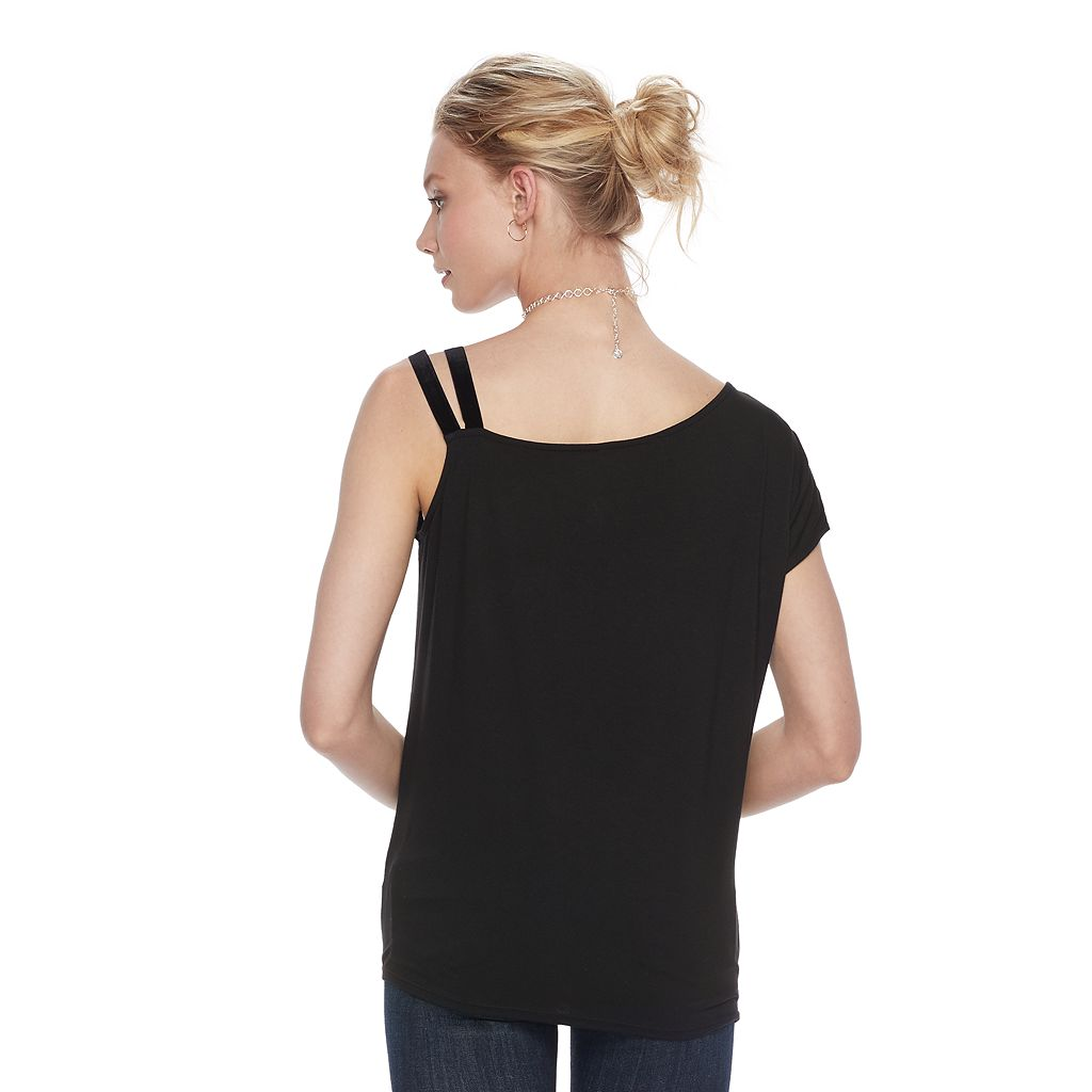 Women's Rock & Republic® Embellished One-Shoulder Top