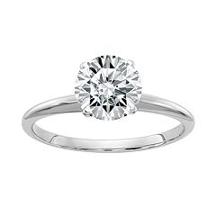 14k White Gold 1 1/2 Carat T.W. Lab-Created Moissanite Engagement Ring