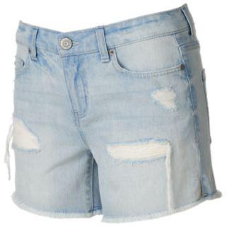 Juniors' Mudd® Fray Hem Ripped Midi Shorts