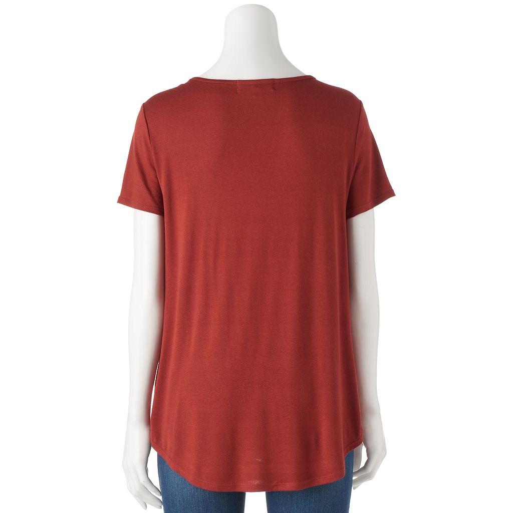 Juniors' Pink Republic Lace-Up Swing Tee