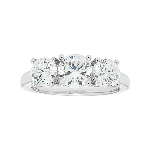 14k White Gold 2 1/2 Carat T.W. Lab-Created Moissanite 3-Stone Anniversary Ring