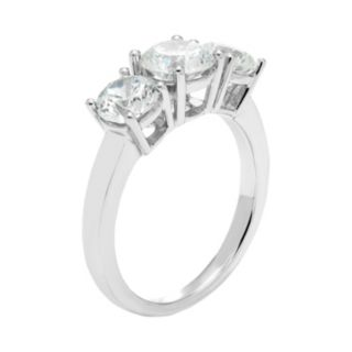 14k White Gold 2 1/2 Carat T.W. Lab-Created Moissanite 3-Stone Anniversary Ring