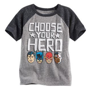 "Boys 4-10 Jumping Beans® DC Comics Batman, Superman, The Flash & Cyborg ""Choose Your Hero"" Raglan Tee"