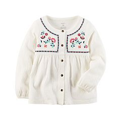 Girls 4-8 Carter's Embroidered Floral Button-Front Top