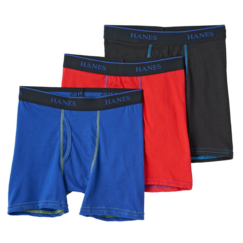 Boys Hanes 3-Pack Knit Boxer Briefs