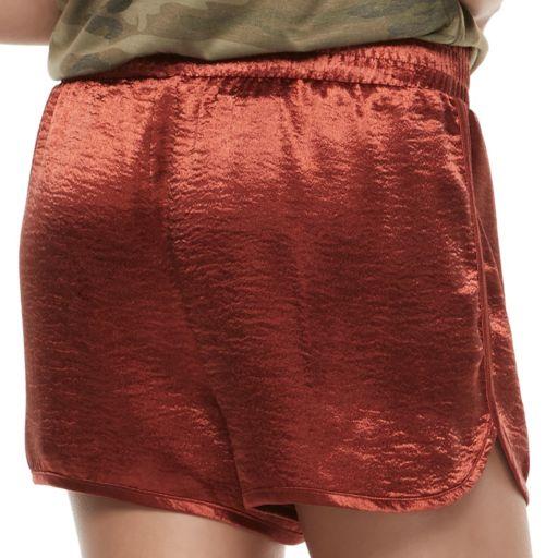Juniors' Love, Fire Shiny Satin Shorts