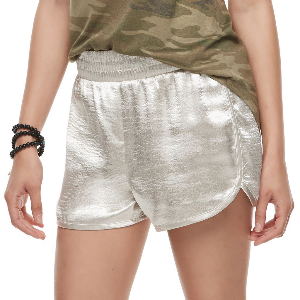 Juniors' Love, Fire Shiny Satin Shorts