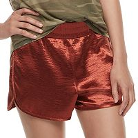 Juniors' Fire Shiny Satin Shorts