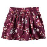 Girls 4-8 Carter's Maroon Floral Woven Skirt