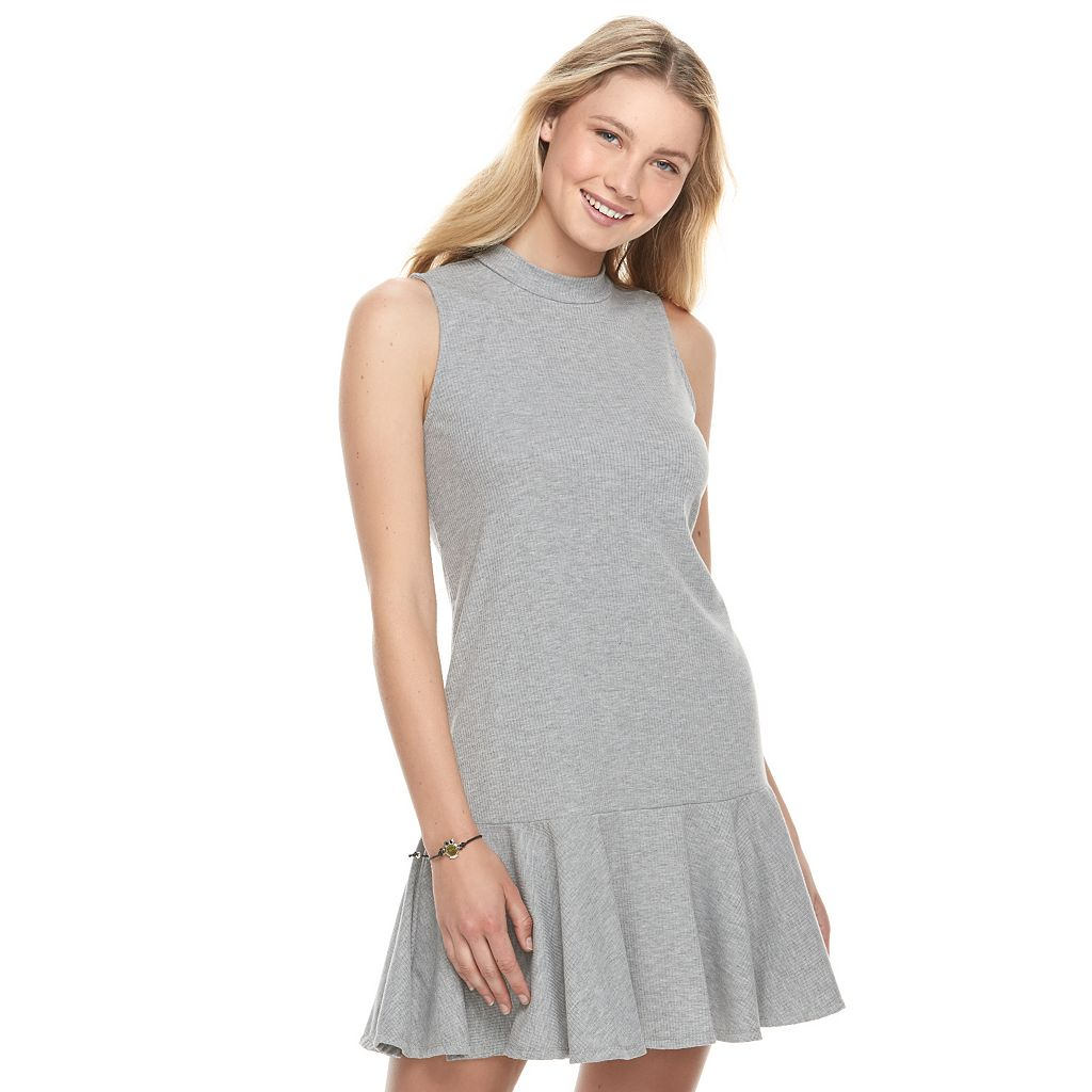 Juniors' Love, Fire Ribbed Mockneck Dress