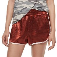 Juniors' Fire Contrast Trim Satin Shorts