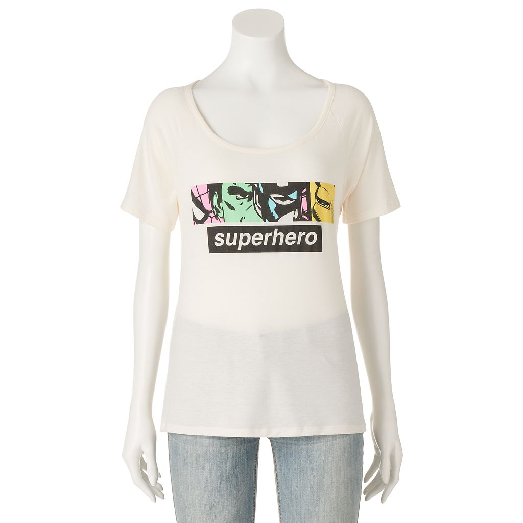 Juniors' Marvel Avengers Cutout Back Graphic Tee