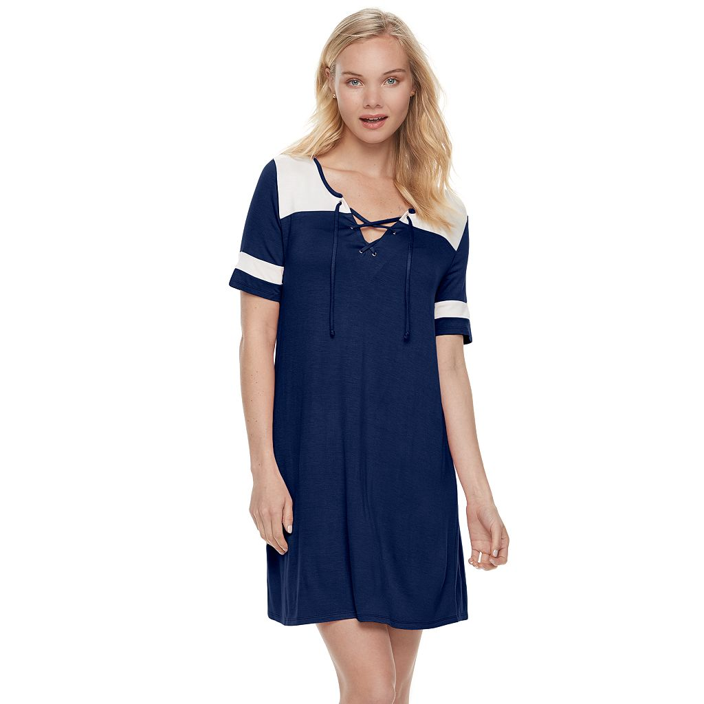 Juniors' Love, Fire Lace-Up Varsity T-Shirt Dress