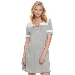 Juniors' Love, Fire Lace-Up Varsity T-Shirt Dress