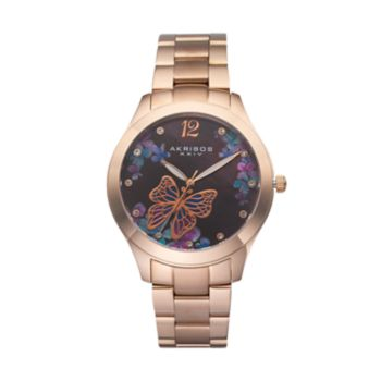Akribos XXIV Women's Ornate Crystal Butterfly Watch