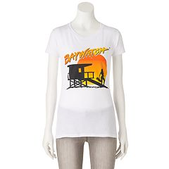 Juniors' Baywatch Sunset Silhouette Graphic Tee