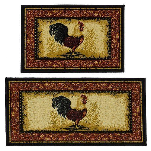 Madison 2-piece Framed Rooster Rug Set
