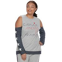 Juniors' Plus Size Marvel Hero Elite Captain America Cold-Shoulder Top by Her Universe