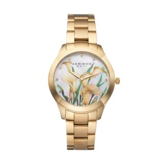 Akribos XXIV Women's Stainless Steel Ornate Crystal Floral Watch
