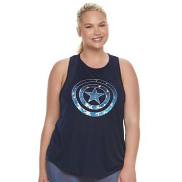 Juniors' Plus Size Marvel Hero Elite Captain America Mesh Tank by Her Universe