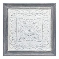 White Medallion Framed Wall Art