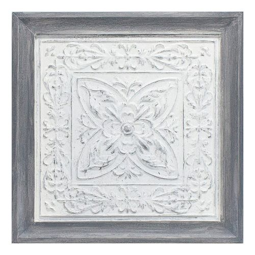 White Medallion Framed Wall Art
