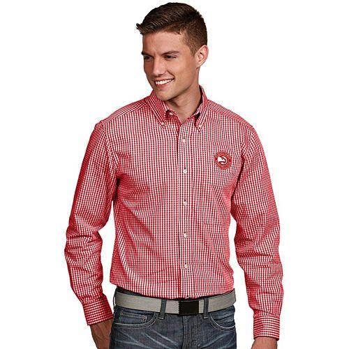 Men's Antigua Atlanta Hawks Associate Plaid Button-Down Shirt
