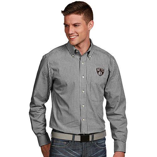 Men's Antigua Brooklyn Nets Associate Plaid Button-Down Shirt