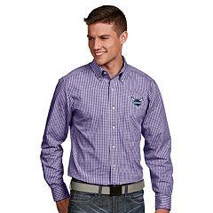 Men's Antigua Charlotte Hornets Associate Plaid Button-Down Shirt